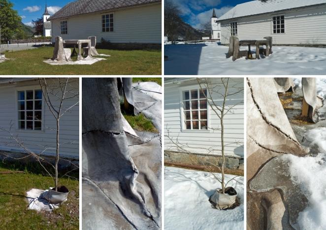 Time Bank sculpture summer-winter